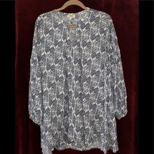Floral Smock Tunic with Edgy Sleeves